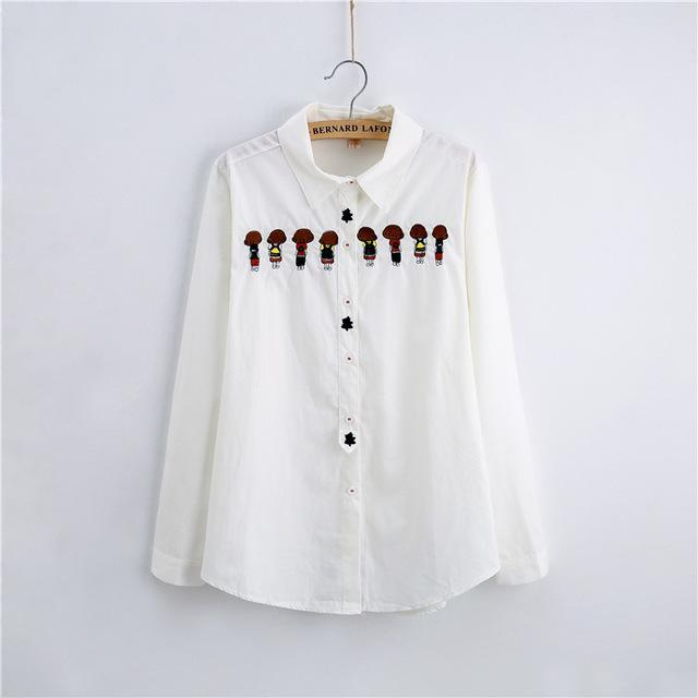 Women Button Down Cotton Shirt Top With Embroidery and Lace Detailing-white 009-XL-JadeMoghul Inc.