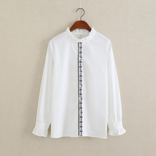 Women Button Down Cotton Shirt Top With Embroidery and Lace Detailing-white 011-S-JadeMoghul Inc.