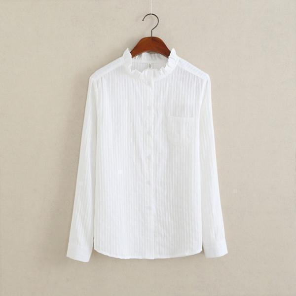 Women Button Down Cotton Shirt Top With Embroidery and Lace Detailing-White 02-S-JadeMoghul Inc.
