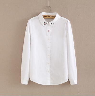 Women Button Down Cotton Shirt Top With Embroidery and Lace Detailing-White 12-S-JadeMoghul Inc.