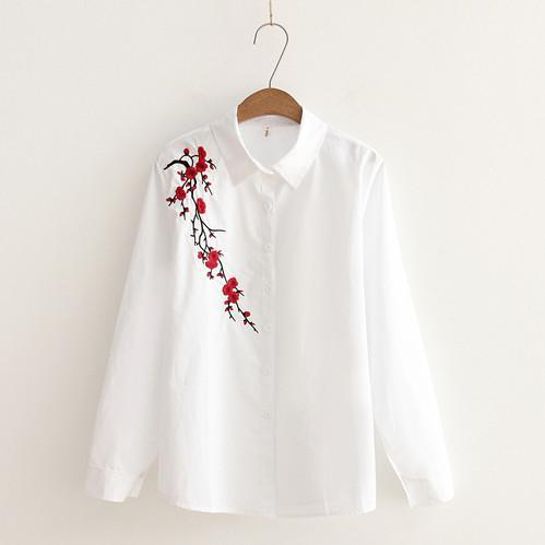 Women Button Down Cotton Shirt Top With Embroidery and Lace Detailing-white lace-S-JadeMoghul Inc.