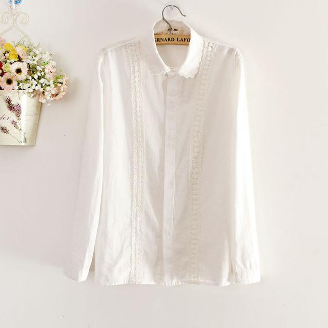Women Button Down Cotton Shirt Top With Embroidery and Lace Detailing-white-S-JadeMoghul Inc.