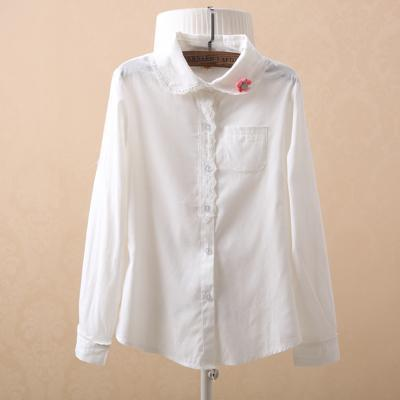Women Button Down Cotton Shirt Top With Embroidery and Lace Detailing-white with brooch-S-JadeMoghul Inc.