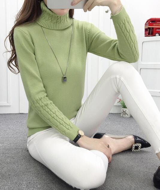 Women Cable Knit Design Pull Over turtle neck Sweater-green-S-JadeMoghul Inc.