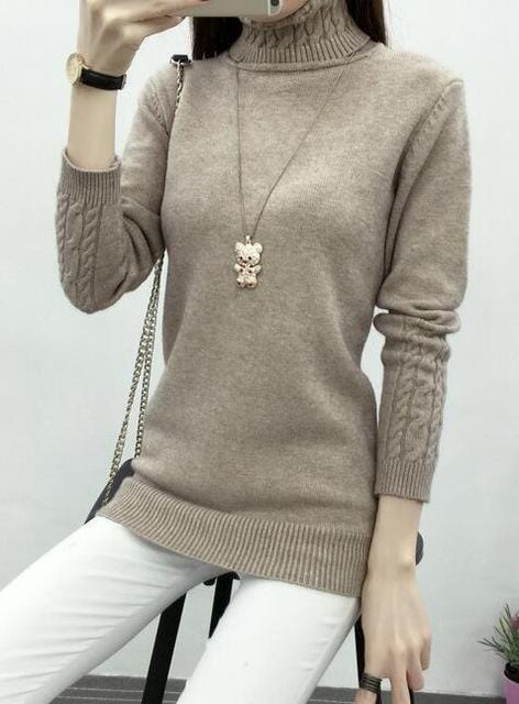 Women Cable Knit Design Pull Over turtle neck Sweater-Khaki-S-JadeMoghul Inc.