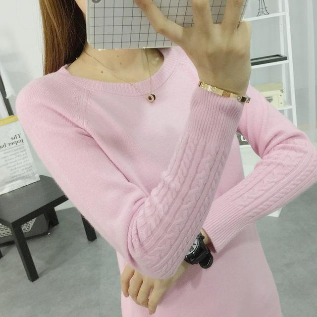 Women Cable Knit Design Pull Over turtle neck Sweater-Pink O Neck-S-JadeMoghul Inc.