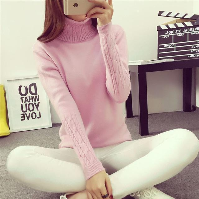 Women Cable Knit Design Pull Over turtle neck Sweater-Pink Turtleneck-S-JadeMoghul Inc.