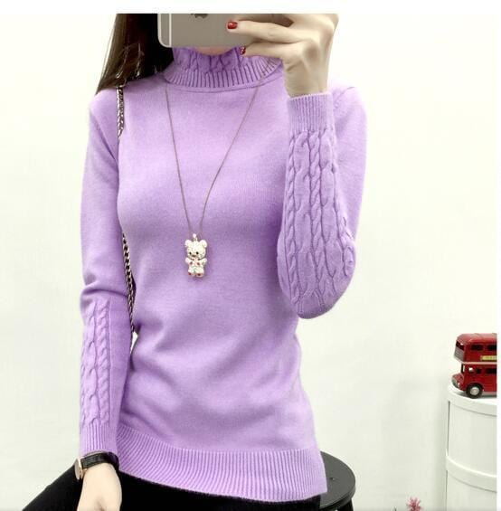 Women Cable Knit Design Pull Over turtle neck Sweater-purple-S-JadeMoghul Inc.