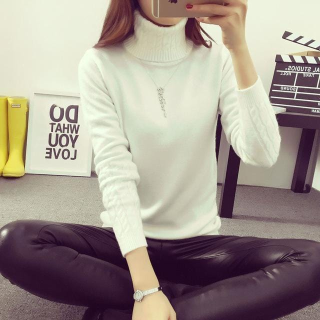 Women Cable Knit Design Pull Over turtle neck Sweater-White Turtleneck-S-JadeMoghul Inc.