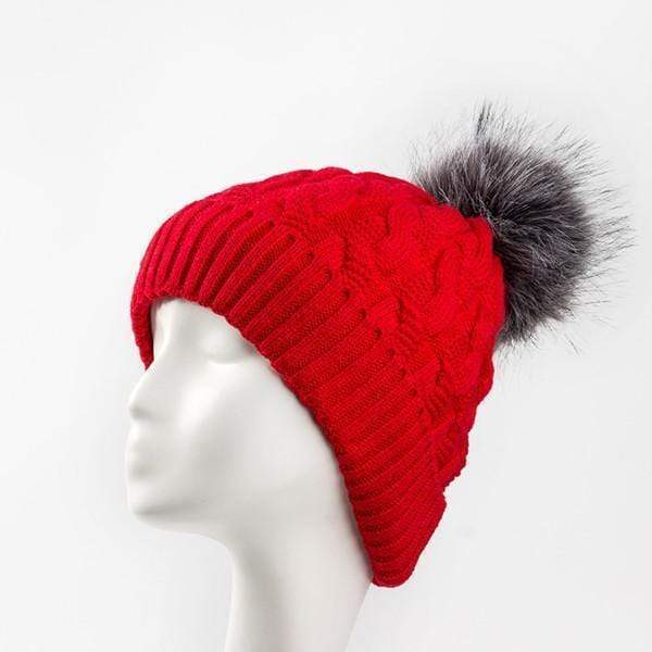 Women Cable Knit Hat With Soft Fur Lining And Pom Pom Trim AExp