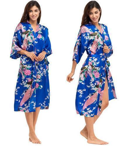 Women Calf Length silk Floral Print Robe-As the photo show 11-S-JadeMoghul Inc.