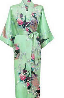 Women Calf Length silk Floral Print Robe-As the photo show 12-S-JadeMoghul Inc.
