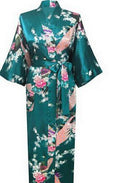 Women Calf Length silk Floral Print Robe-As the photo show 13-S-JadeMoghul Inc.