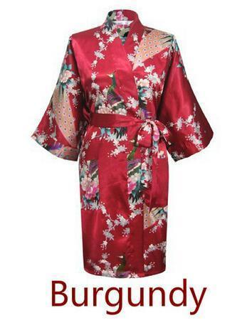 Women Calf Length silk Floral Print Robe-As the photo show 14-S-JadeMoghul Inc.