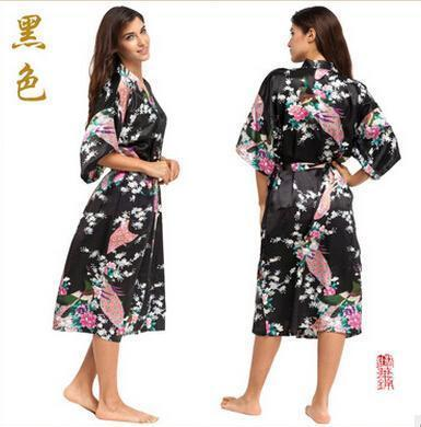 Women Calf Length silk Floral Print Robe-As the photo show 3-S-JadeMoghul Inc.