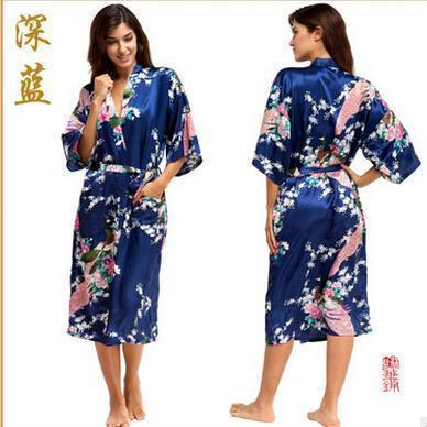 Women Calf Length silk Floral Print Robe-As the photo show 4-S-JadeMoghul Inc.