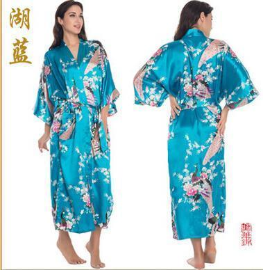 Women Calf Length silk Floral Print Robe-As the photo show 5-S-JadeMoghul Inc.