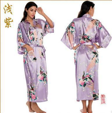 Women Calf Length silk Floral Print Robe-As the photo show 6-S-JadeMoghul Inc.