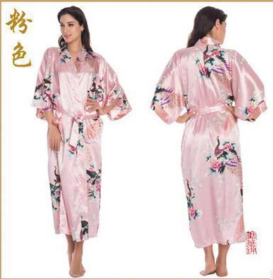 Women Calf Length silk Floral Print Robe-As the photo show 7-S-JadeMoghul Inc.