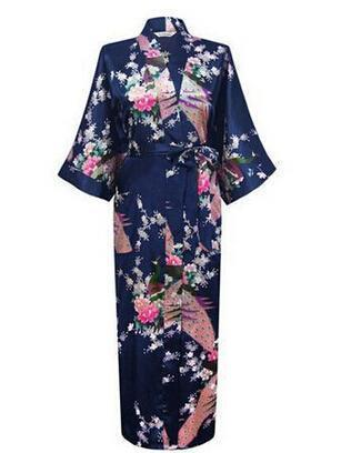 Women Calf Length silk Floral Print Robe-As the photo show-S-JadeMoghul Inc.
