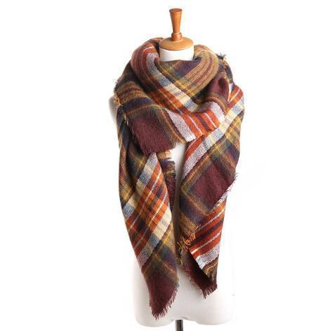 Women Cashmere Blend Plaid Triangle Shaped Scarf/Wrap-Triangle brown-JadeMoghul Inc.