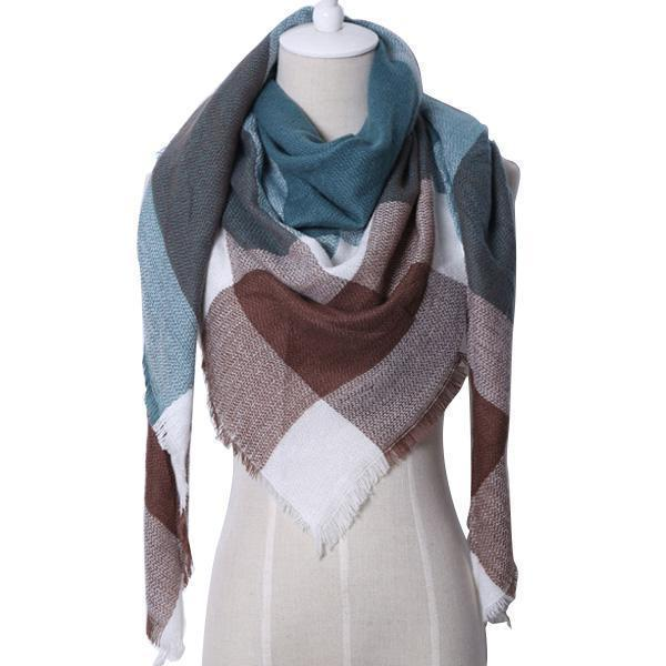 Women Cashmere Blend Plaid Triangle Shaped Scarf/Wrap-Triangle Green Red-JadeMoghul Inc.