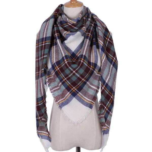 Women Cashmere Blend Plaid Triangle Shaped Scarf/Wrap-Triangle Green white-JadeMoghul Inc.