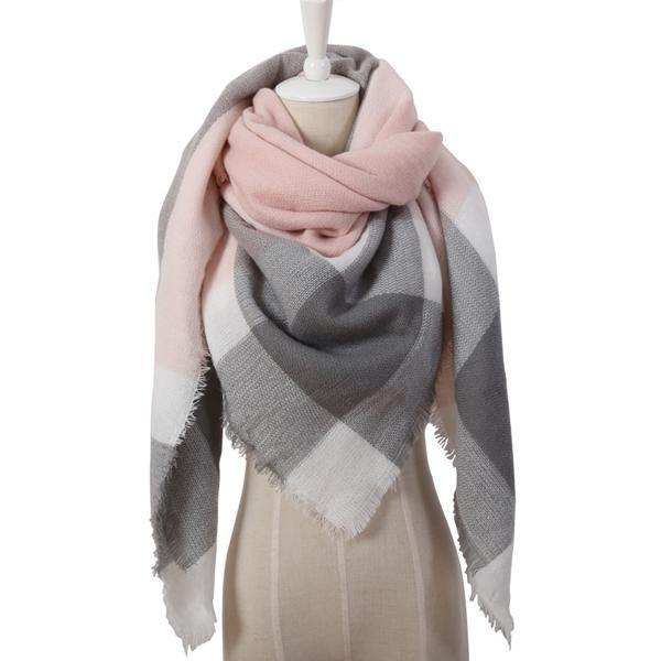 Women Cashmere Blend Plaid Triangle Shaped Scarf/Wrap-Triangle Pink Grey-JadeMoghul Inc.