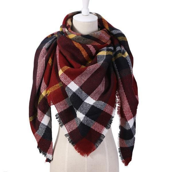 Women Cashmere Blend Plaid Triangle Shaped Scarf/Wrap-Triangle Red-JadeMoghul Inc.