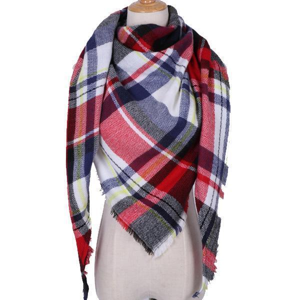Women Cashmere Blend Plaid Triangle Shaped Scarf/Wrap-Triangle Red White-JadeMoghul Inc.