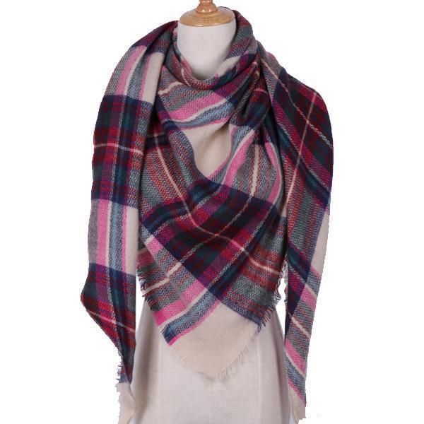 Women Cashmere Blend Plaid Triangle Shaped Scarf/Wrap-Triangle Rose red-JadeMoghul Inc.
