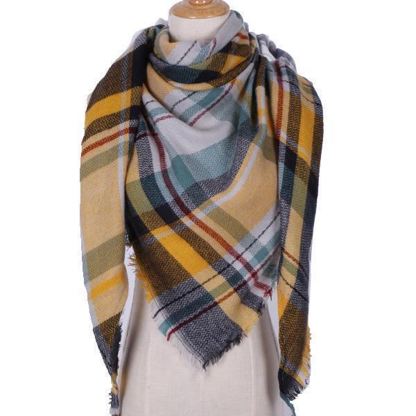 Women Cashmere Blend Plaid Triangle Shaped Scarf/Wrap-Triangle YellowGreen-JadeMoghul Inc.