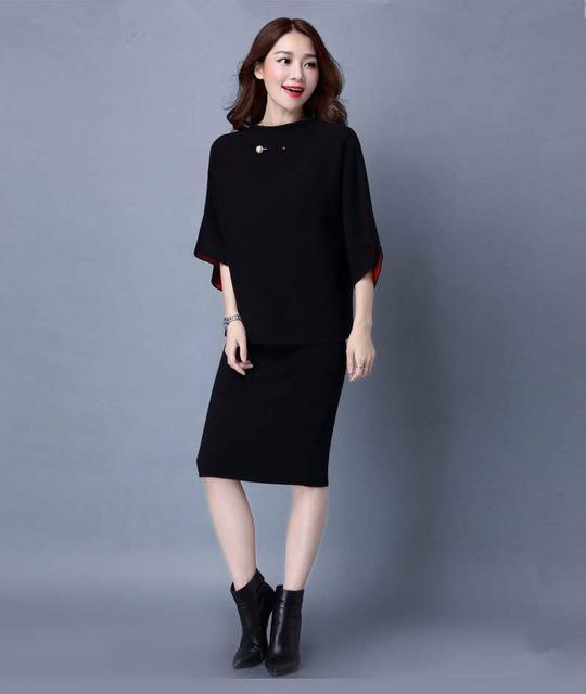 Women Cashmere Feel Two Tone Pencil Skirt Suit Set With Brooch Detailing-skirt set-Black-One Size-JadeMoghul Inc.