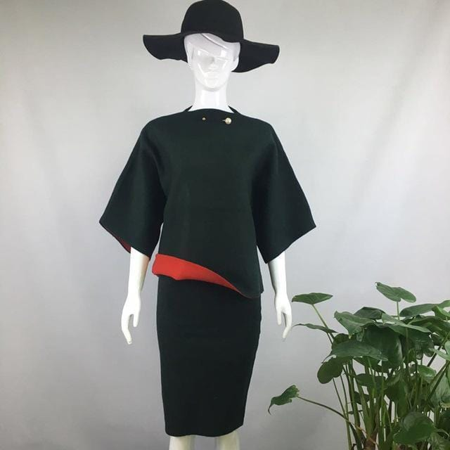 Women Cashmere Feel Two Tone Pencil Skirt Suit Set With Brooch Detailing-skirt set-Dark Green-One Size-JadeMoghul Inc.