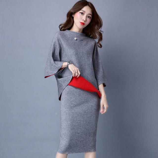 Women Cashmere Feel Two Tone Pencil Skirt Suit Set With Brooch Detailing-skirt set-Grey-One Size-JadeMoghul Inc.