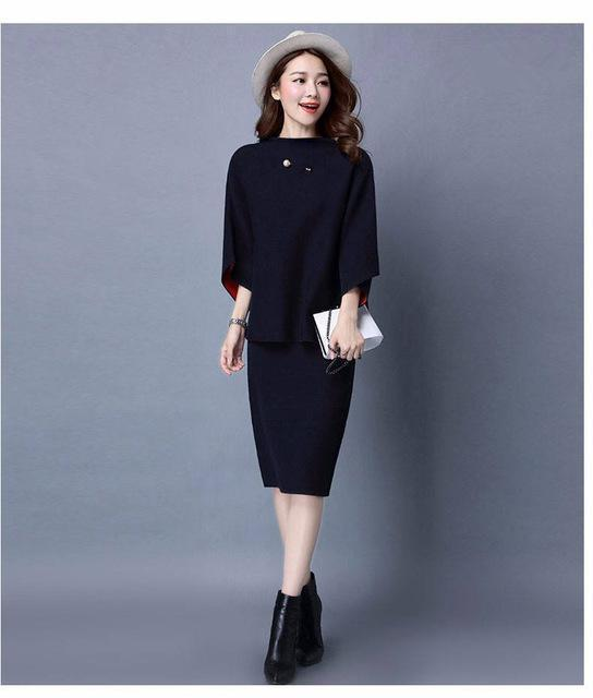 Women Cashmere Feel Two Tone Pencil Skirt Suit Set With Brooch Detailing-skirt set-Navy Blue-One Size-JadeMoghul Inc.