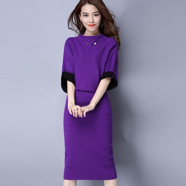 Women Cashmere Feel Two Tone Pencil Skirt Suit Set With Brooch Detailing-skirt set-Purple-One Size-JadeMoghul Inc.