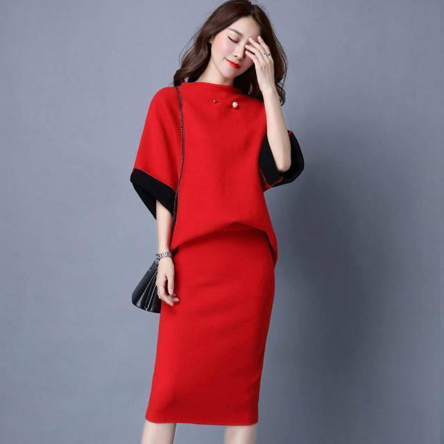 Women Cashmere Feel Two Tone Pencil Skirt Suit Set With Brooch Detailing-skirt set-Red-One Size-JadeMoghul Inc.