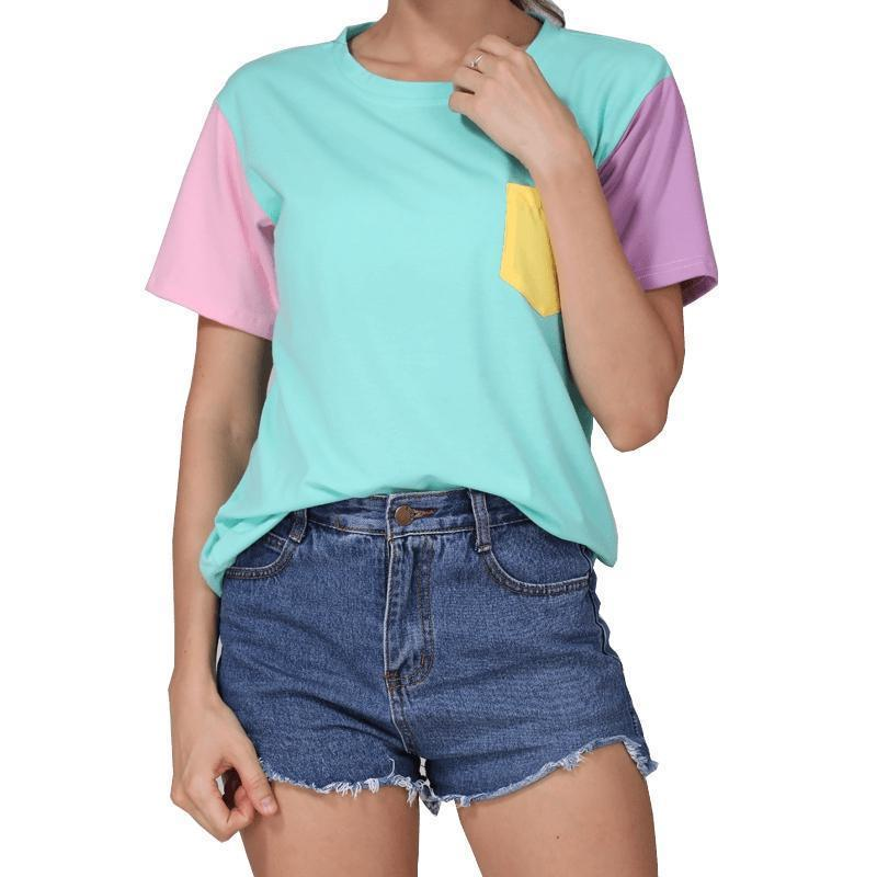 Women Casual Cotton Patchwork T Shirt-blue-M-JadeMoghul Inc.