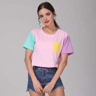 Women Casual Cotton Patchwork T Shirt-Pink-M-JadeMoghul Inc.