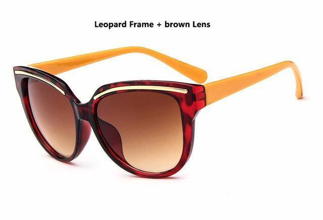 Women Cat Eye Acrylic Frame Sunglasses With 100% UV 400 Protection-Brown-JadeMoghul Inc.