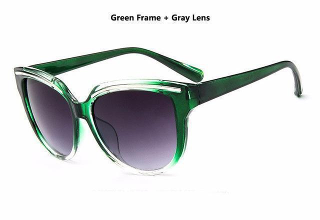 Women Cat Eye Acrylic Frame Sunglasses With 100% UV 400 Protection-Green-JadeMoghul Inc.