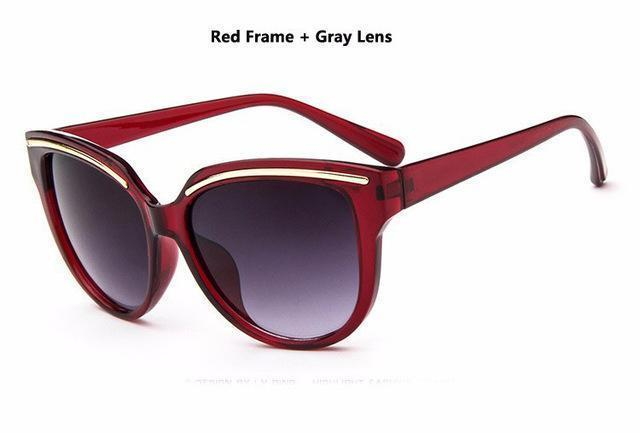 Women Cat Eye Acrylic Frame Sunglasses With 100% UV 400 Protection-Red-JadeMoghul Inc.