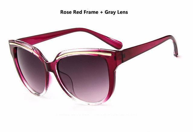 Women Cat Eye Acrylic Frame Sunglasses With 100% UV 400 Protection-rose Red-JadeMoghul Inc.