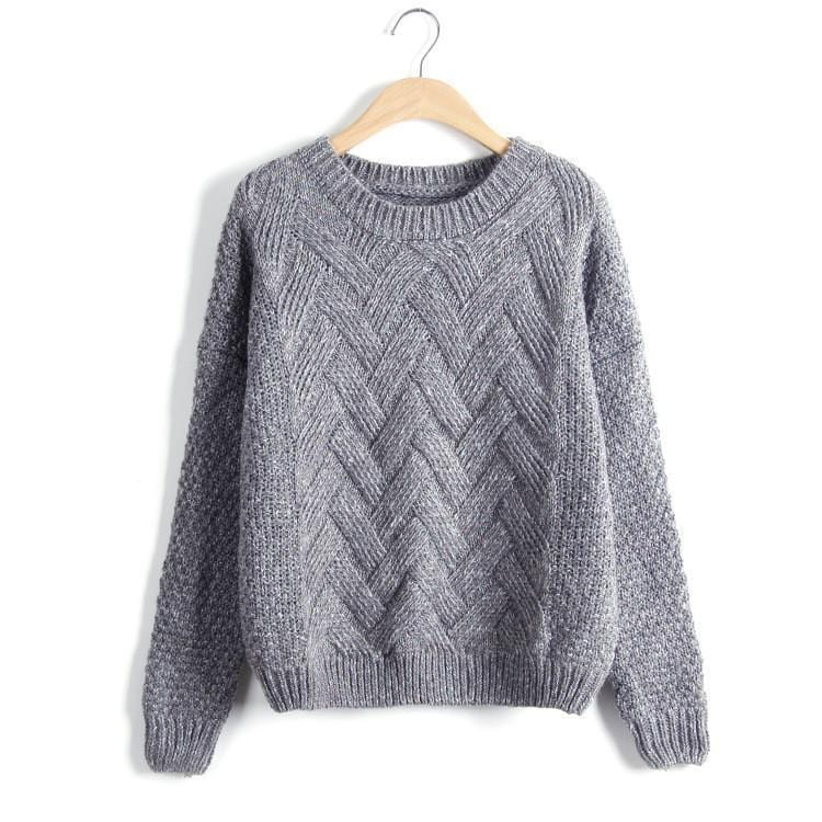 Women Chevron Self Mohair Pull Over Sweater-Dark Grey-One Size-JadeMoghul Inc.