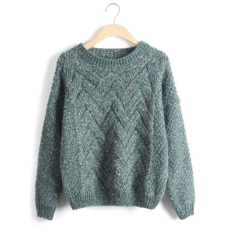 Women Chevron Self Mohair Pull Over Sweater-Green-One Size-JadeMoghul Inc.