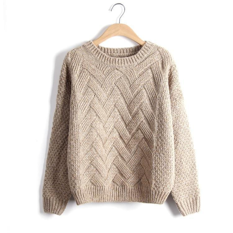 Women Chevron Self Mohair Pull Over Sweater-Khaki-One Size-JadeMoghul Inc.