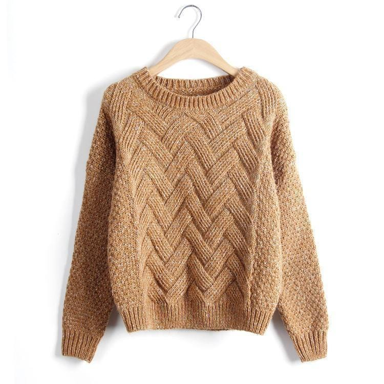 Women Chevron Self Mohair Pull Over Sweater-Orange-One Size-JadeMoghul Inc.