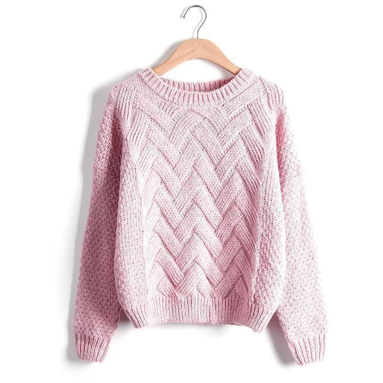 Women Chevron Self Mohair Pull Over Sweater-Pink-One Size-JadeMoghul Inc.