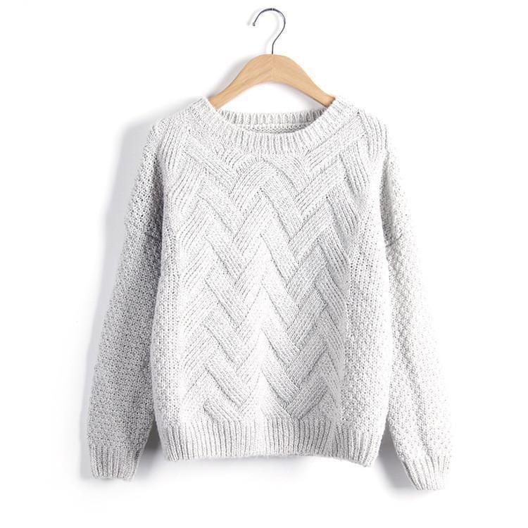 Women Chevron Self Mohair Pull Over Sweater-Silver-One Size-JadeMoghul Inc.